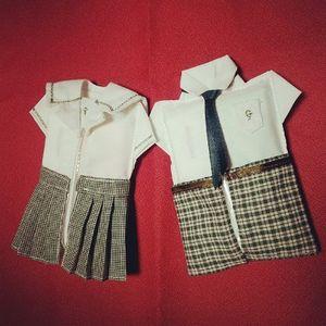 コツをつかめば応用できます。 写真は娘と息子の制服型ティッシュケースです。