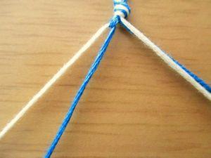 これで、ひと目出来ました。 1本の糸に2回結んだ状態を、ひと目とカウントします。