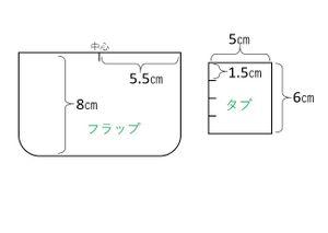 フラップは表地と裏地を各1枚。 縫い代を0.8cmとります。 タブの生地は2枚です。 タブの縫い代は要りません。