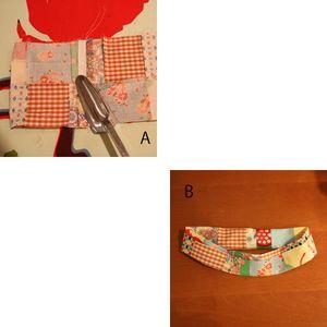 A (7)の縫い代を割ってアイロンをかけます。 B(5)~(6)でかけたアイロン通りに再び畳みます。