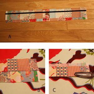 A (4)の2枚をそのまま中表に重ね、揃えた端から1㎝の縫い代で縫って下さい(直線部分) B 広げてアイロンをかけます。 C 縫い目の通り折って、アイロンをかけます。