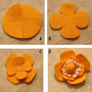 フェルトを5㎝と4㎝の円に切り、A→Bの手順で切ります。 C 2枚を重ね、中心を縫って少し糸を引き、玉止め。 D (9)を中心に重ねて縫いとめます。 これを3つ作ります。