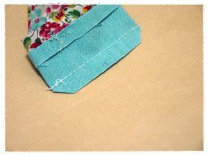 縫えたら、また縫い代の角をカットして置いてください。 7と同じく仕上がりをキレイにするためです。