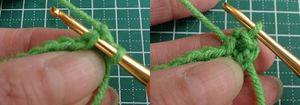 一番最初に編んだくさり目に引き抜く。