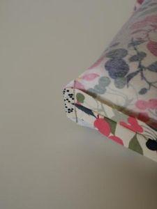 ミシンの縫い目から1cm位縫いしろを残してカットします♪