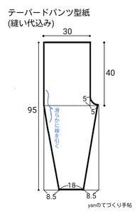 型紙を作ります。前後同じ形です。 縫い代込みの分量(ウエスト3cm、裾2cm、その他1cm)です。